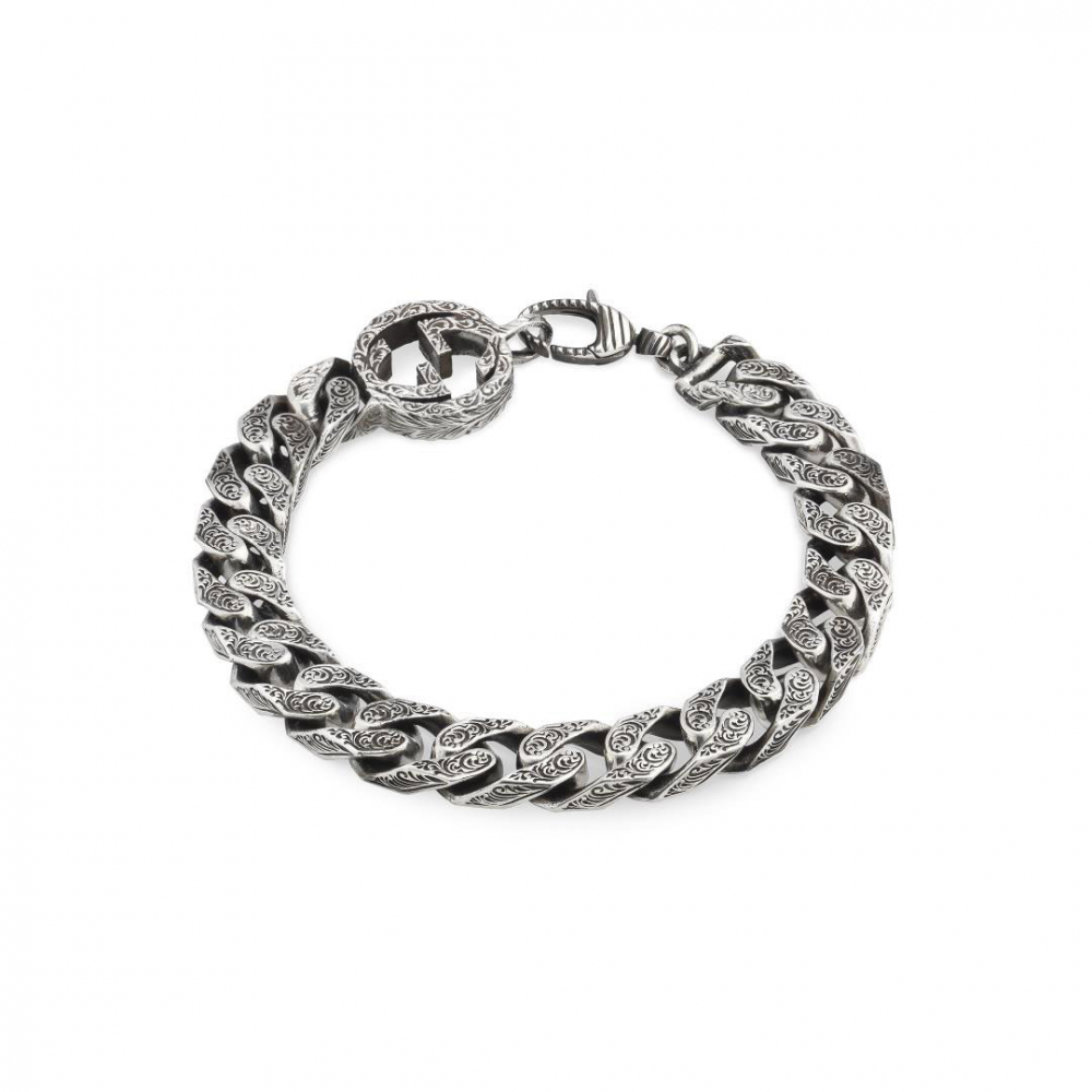 Gucci GG Marmont Aged Silver Link Bracelet
