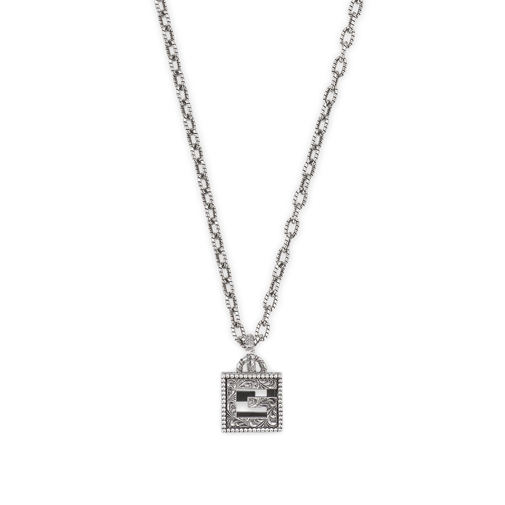 Gucci G Cube Aged Silver Necklace