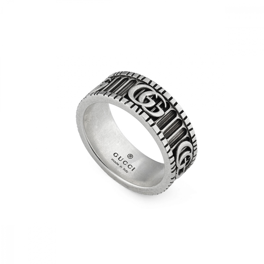 Gucci GG Marmont Aged Silver Ring