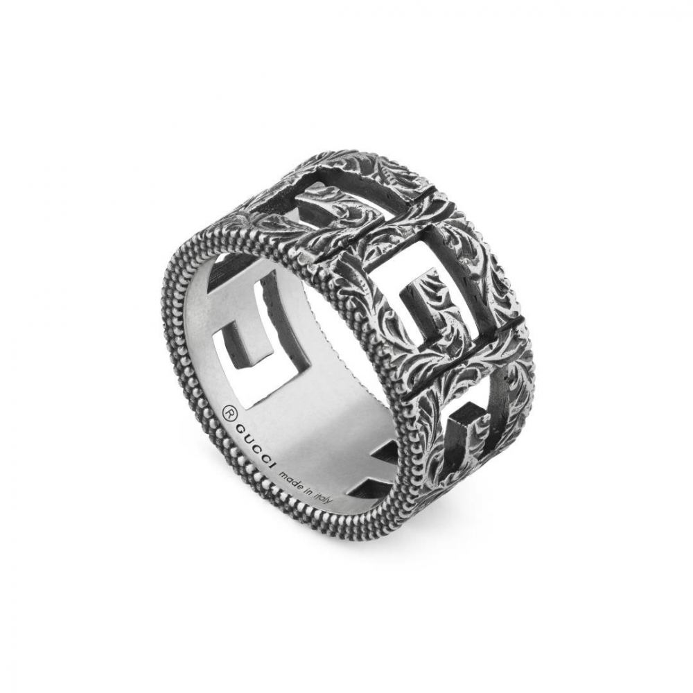 Gucci G Cube Wide Aged Silver Ring
