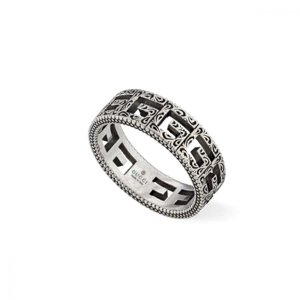 Gucci G Cube Aged Silver Ring
