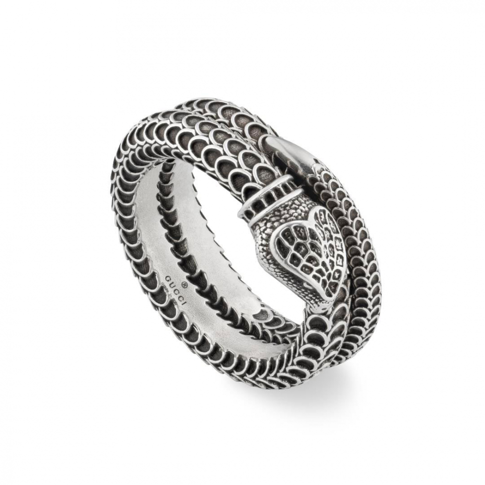 Gucci Garden Double Band Snake Aged Silver Ring