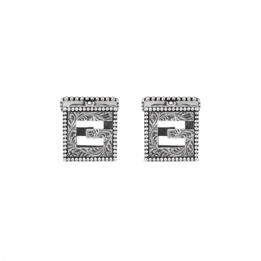 Gucci G Cube Aged Silver Cufflinks